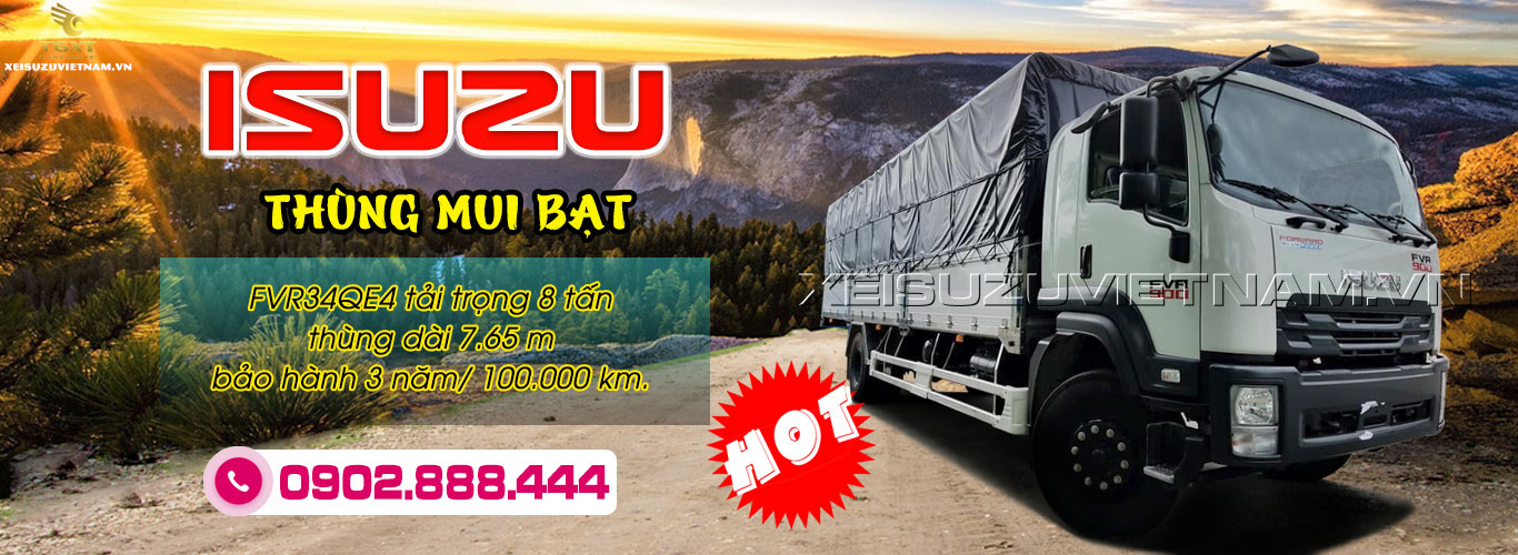 Xe tải Isuzu 8 tấn thùng mui bạt - FVR34QE4