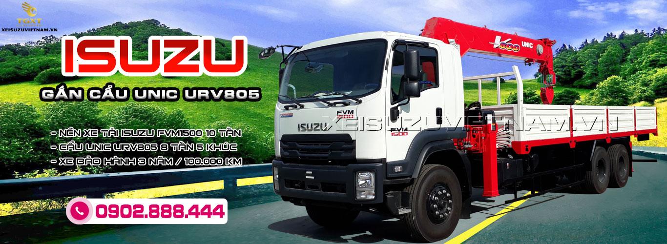 Xe tải Isuzu 3 chân 10 tấn gắn cẩu Unic URV805