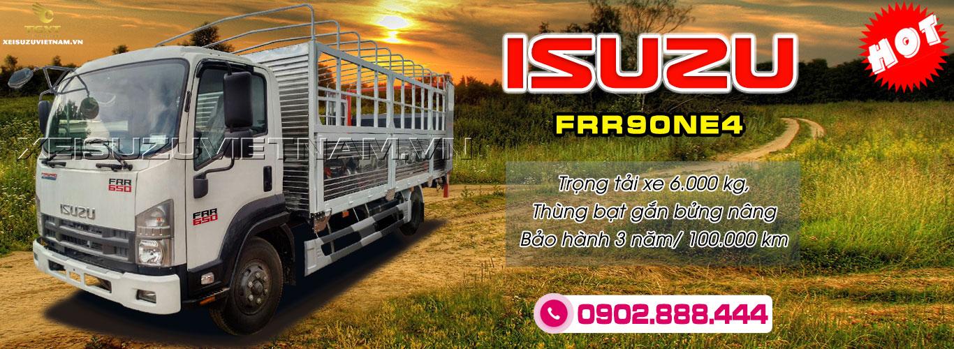 Xe tải Isuzu 6 tấn thùng bạt bửng nâng - FRR90NE4