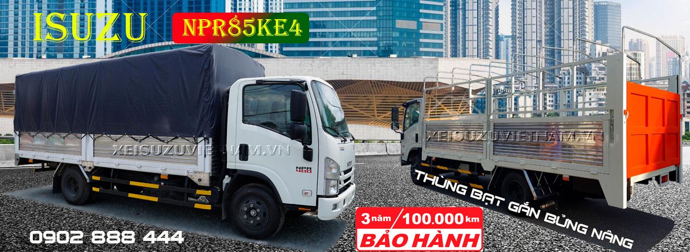 Xe tải Isuzu 3T49 thùng bạt bửng nâng - NPR85KE4